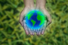 Earth in hand, environment concept stock photo