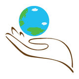 Earth in Hand. Hand hold globe - vector icon, flat design best vector icon Royalty Free Stock Photography