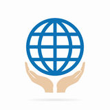 Earth in hand logo or icon Stock Photo