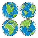 Earth hand sketch cartoon  Royalty Free Stock Photos
