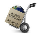 Earth handle with care fragile planet. Earth in cardboard box with text handle with care on a hand truck concept for environmental protection we have only one vector illustration