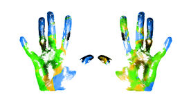 Earth handprints. Handprints with imitation of Earth on white backgraund stock photo
