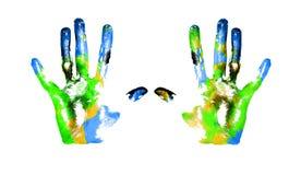 Earth handprints Stock Photo