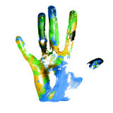 Earth handprints. Handprints with imitation of Earth on white background stock image