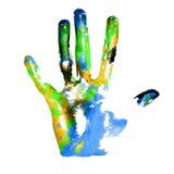 Earth handprints Stock Image