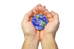 Earth in hands. Man's hands holding the World Royalty Free Stock Photo