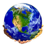 Earth on hands. 3D render: earth supporting by hands on white background Royalty Free Stock Images