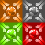 Earth in hands. On various backgrounds Stock Photo