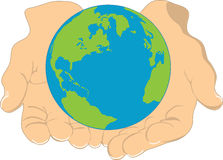 Earth and Hands Stock Photo
