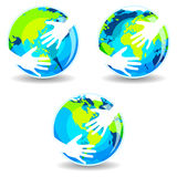 Earth In Hands. Illustration of Hugs and Care of Earth Stock Photo