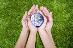 Earth in hands. Gesture of two hands (mother and son) on the grass holding planet Earth Stock Image