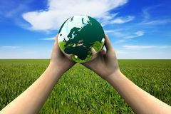 Earth in hands. Environment protection concept royalty free stock photo