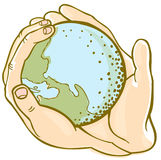 Earth hands vector illustration