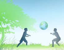 Earth in Hands of Children. An illustration featuring 2 children playing ball with the planet Earth - a representation of the kind of future that will be left Stock Photos