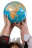 Earth in the hands of children. Royalty Free Stock Photo