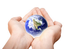 Earth in hands. Glass World Stock Images