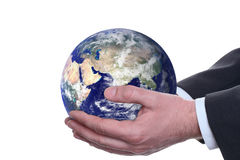 Earth in a hands, isolated 2 Stock Image
