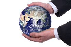 Earth in a hands, isolated Stock Image