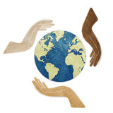 Earth in hands recycled paper craft Royalty Free Stock Photos