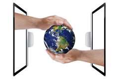 Earth Hands Technology Environment Protection Isolated Stock Images