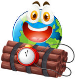 Earth with happy face and time bomb Royalty Free Stock Photos