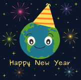 Earth happy new year funny cute holidays illustration with stars and fireworks Royalty Free Stock Photography