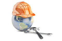 Earth with hard hat and tools, 3D rendering Stock Image