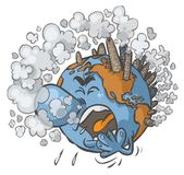 Earth having a cough. Cartoon illustration of Earth having a cough on white background Stock Images