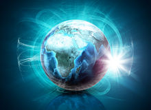 Earth in haze on abstract blue background Royalty Free Stock Image