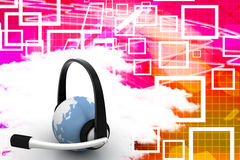 Earth With Headphone Illustration Stock Photos