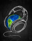 Earth Headphone music Background. Digital Drawing Stock Photography
