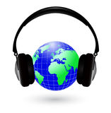 Earth with headphones Stock Photo