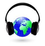 Earth with headphones Stock Photo