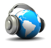 Earth with headphones Stock Image