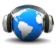 Earth with headphones. Abstract 3d illustration of earth globe with headphones, over white background Stock Images