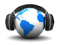 Earth and headphones Royalty Free Stock Photo