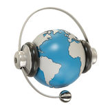 Earth and headphones Stock Photography