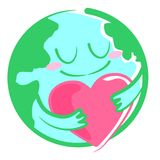 Earth and the Heart. This is an illustration of the earth and heart Royalty Free Stock Images