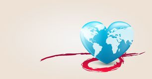 Earth heart. Heart with earth mapping. Vector illustration Royalty Free Stock Photography