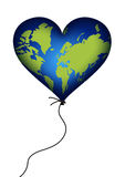 Earth heart balloon (isolated) Stock Image
