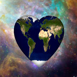 Earth Heart Cosmos. Earth Heart in Cosmos Background Royalty Free Stock Photography