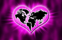 Earth Heart dark. A heart presents for love and peace Stock Images