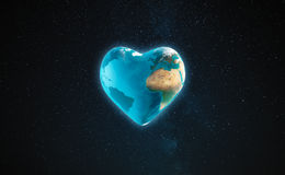 The earth with heart shape Stock Image