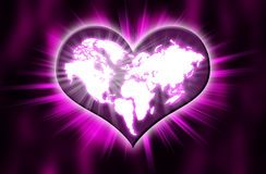 Earth heart white. A heart presents for love and peace Stock Photography