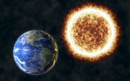 Earth heating from extreme fiery Sun. In space 3d illustration Royalty Free Stock Image
