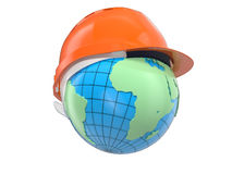 Earth in the  helmet Stock Photography