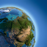 Earth with high relief, illuminated Stock Photo
