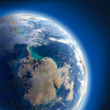 Earth with high relief, illuminated Stock Photography