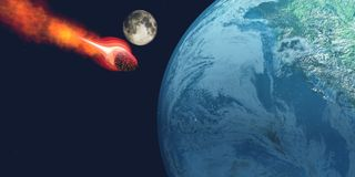 Earth hit by Asteroid. The Earth is about to be hit by an unknown white hot asteroid Stock Photography