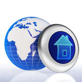 Earth home button concept Royalty Free Stock Images